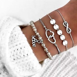 Jewelry - Set of 4 Curated Infinite Love Layered Bracelets